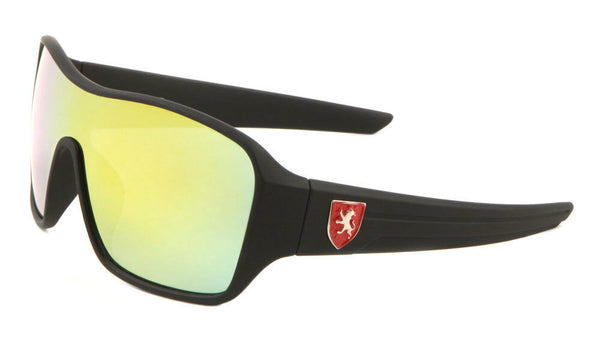 Khan Soft Rubber Oversized Shield Wrap Around Sunglasses