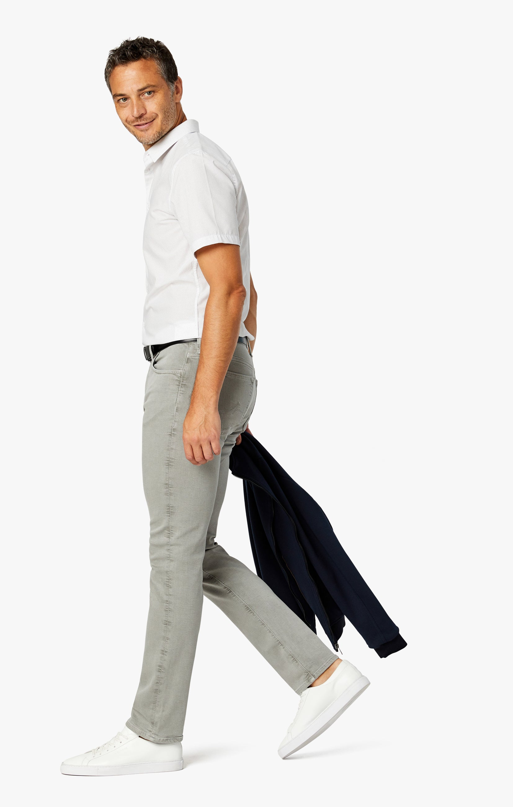 Cool Tapered Leg Pants In Light Grey Comfort Image 2