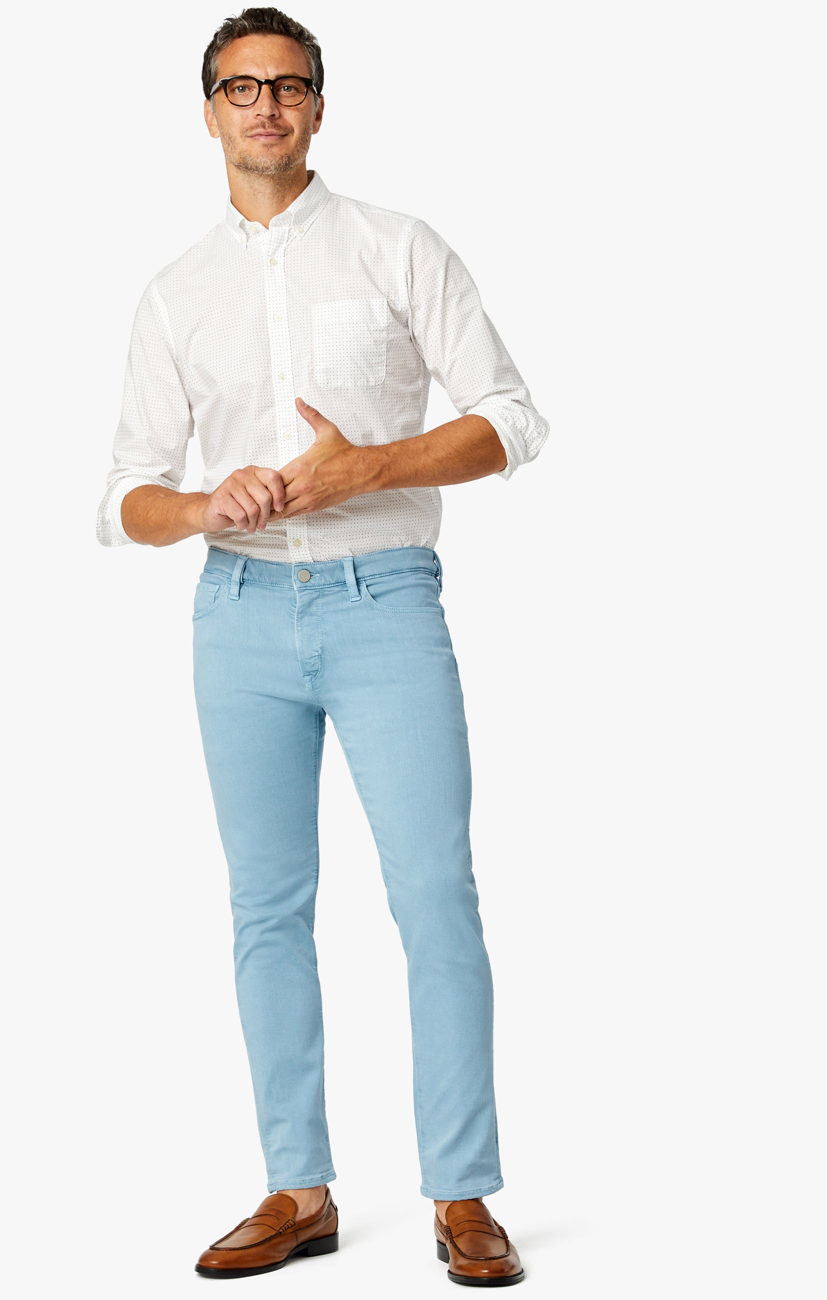 Cool Tapered Leg Pants In Light Blue Comfort Image 1
