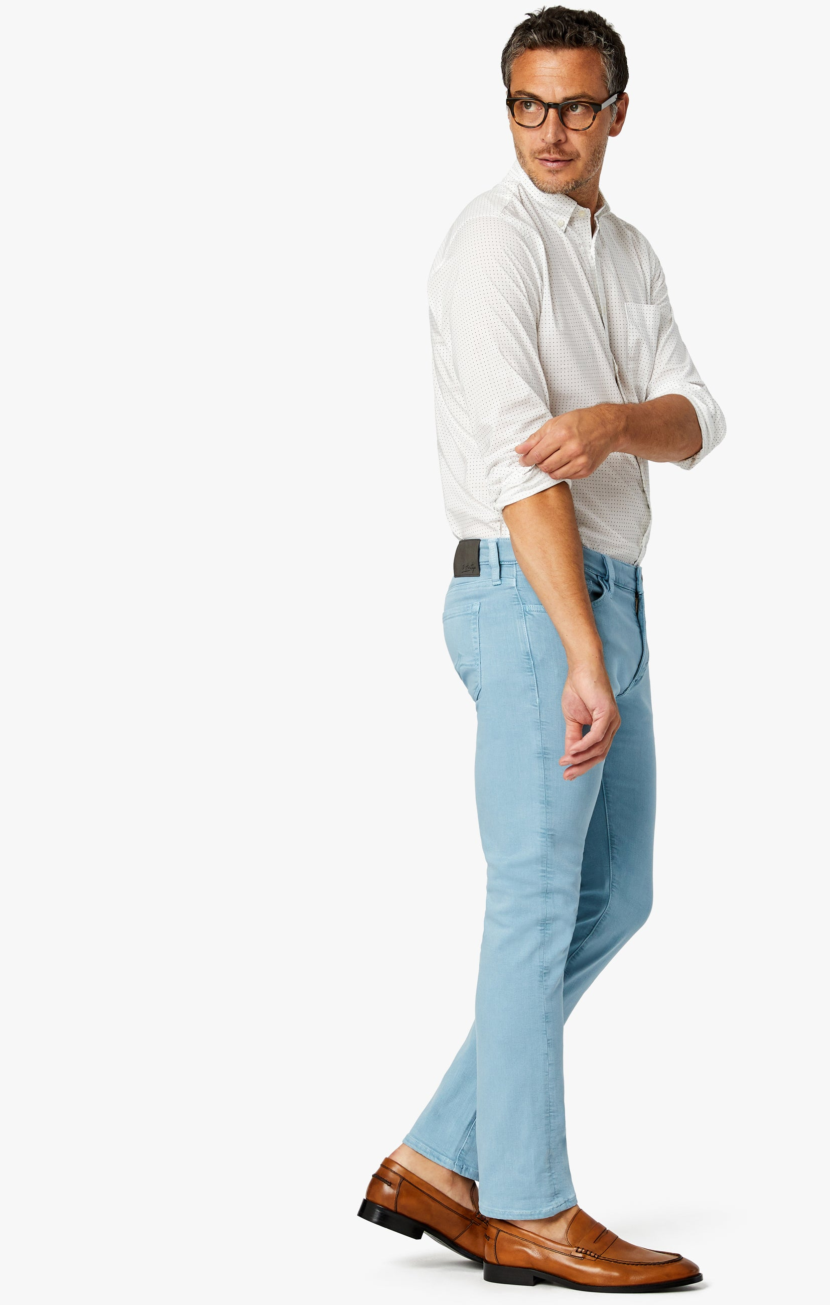 Cool Tapered Leg Pants In Light Blue Comfort Image 2
