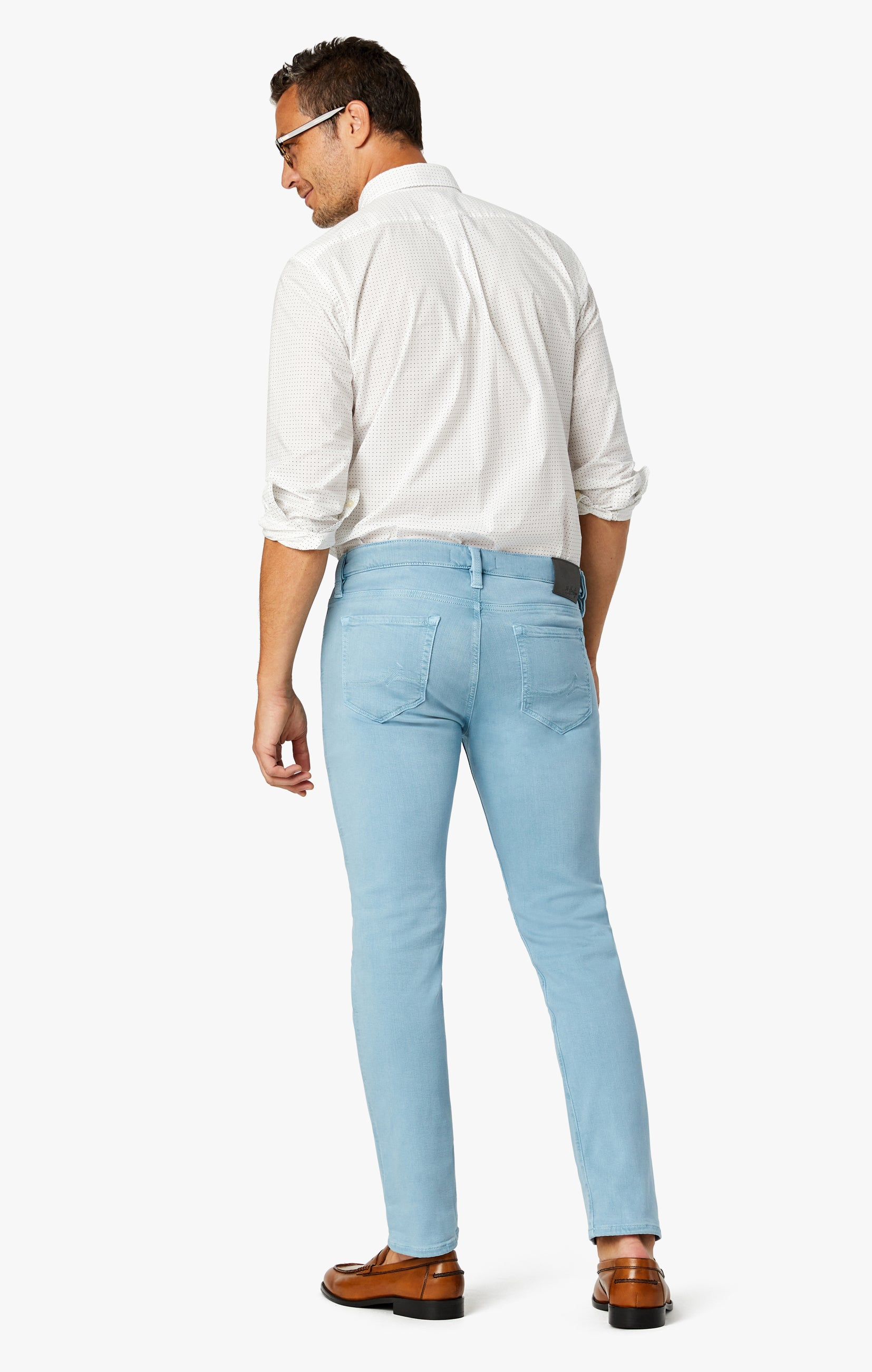 Cool Tapered Leg Pants In Light Blue Comfort Image 3