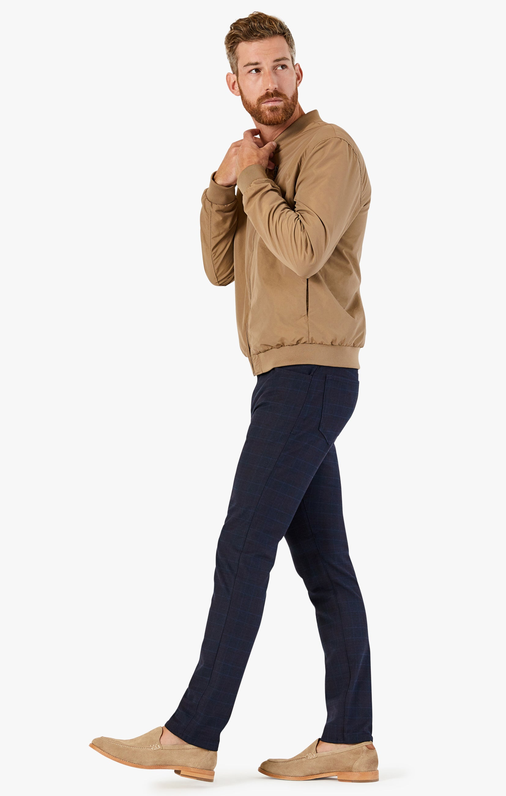 Cool Tapered Leg Pants In Navy Fancy Checked Image 3
