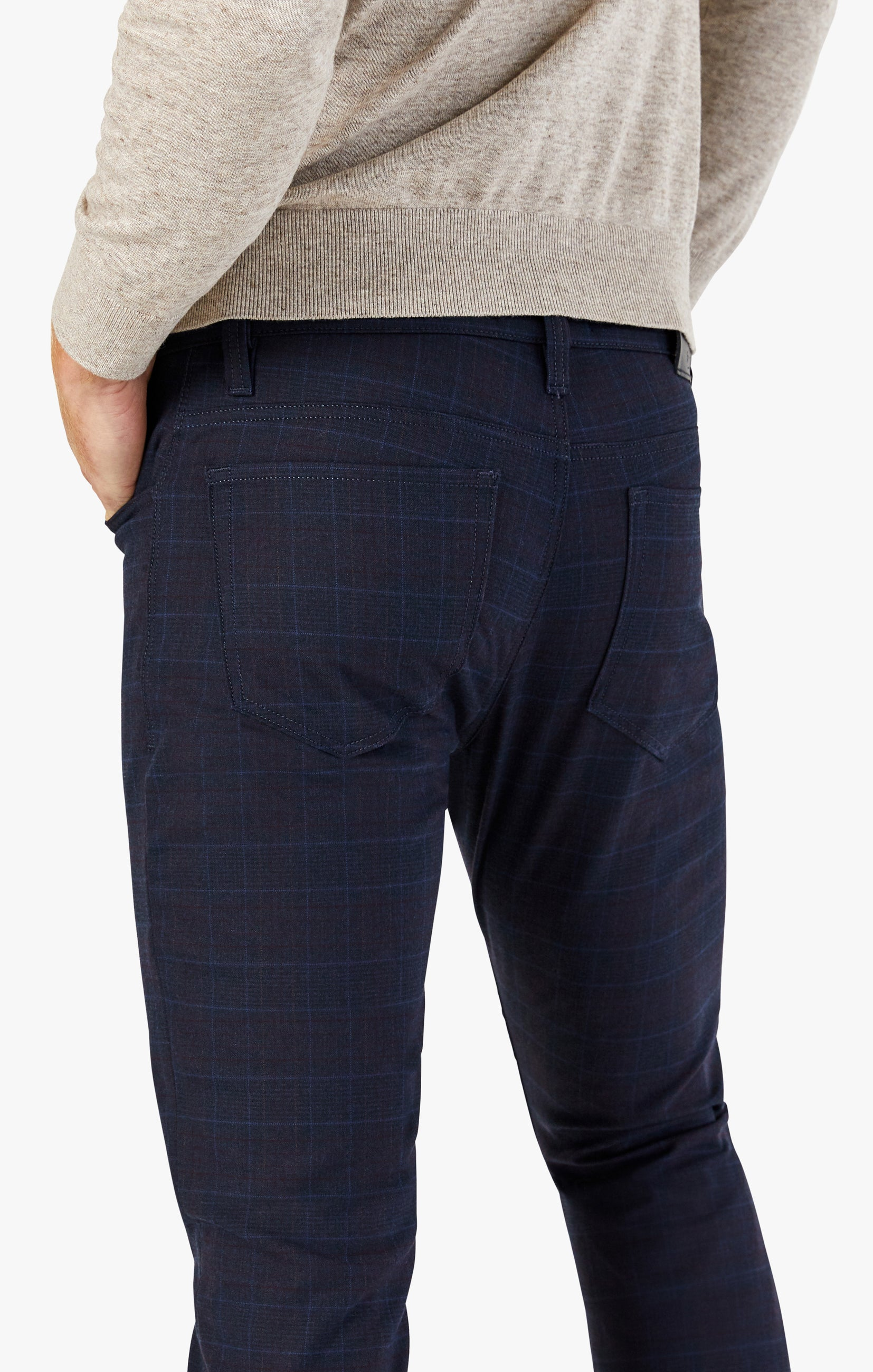 Cool Tapered Leg Pants In Navy Fancy Checked Image 4