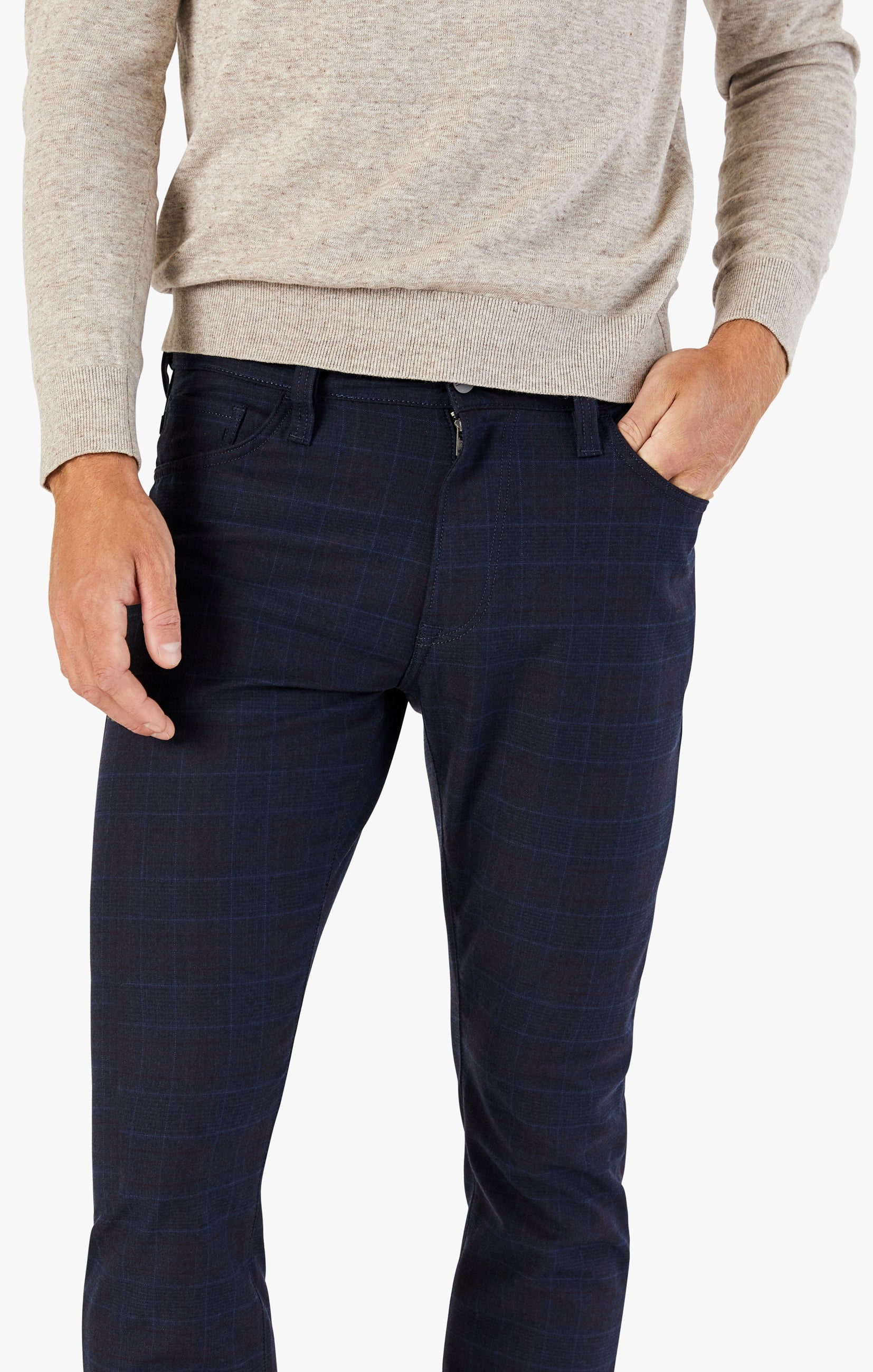Cool Tapered Leg Pants In Navy Fancy Checked Image 5