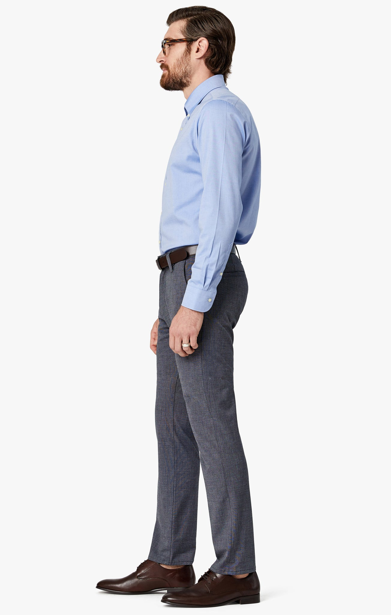Naples Chino In Navy Summer Melange