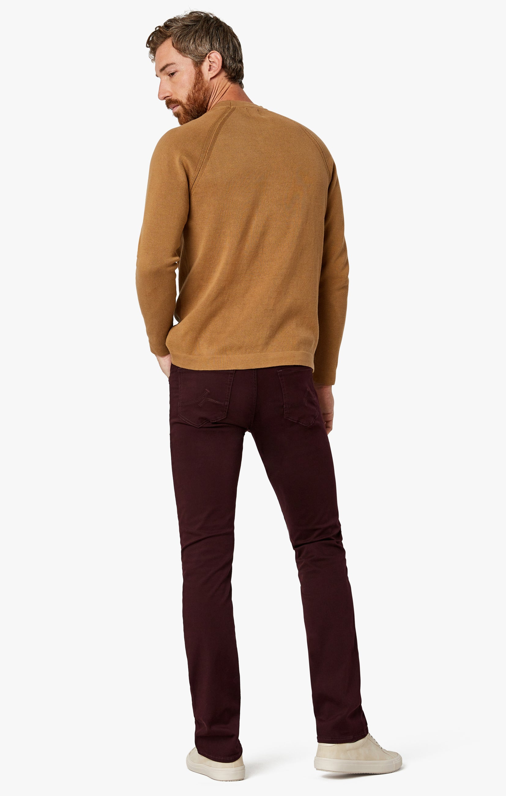 Charisma Relaxed Straight Pants in Wine Twill Image 10