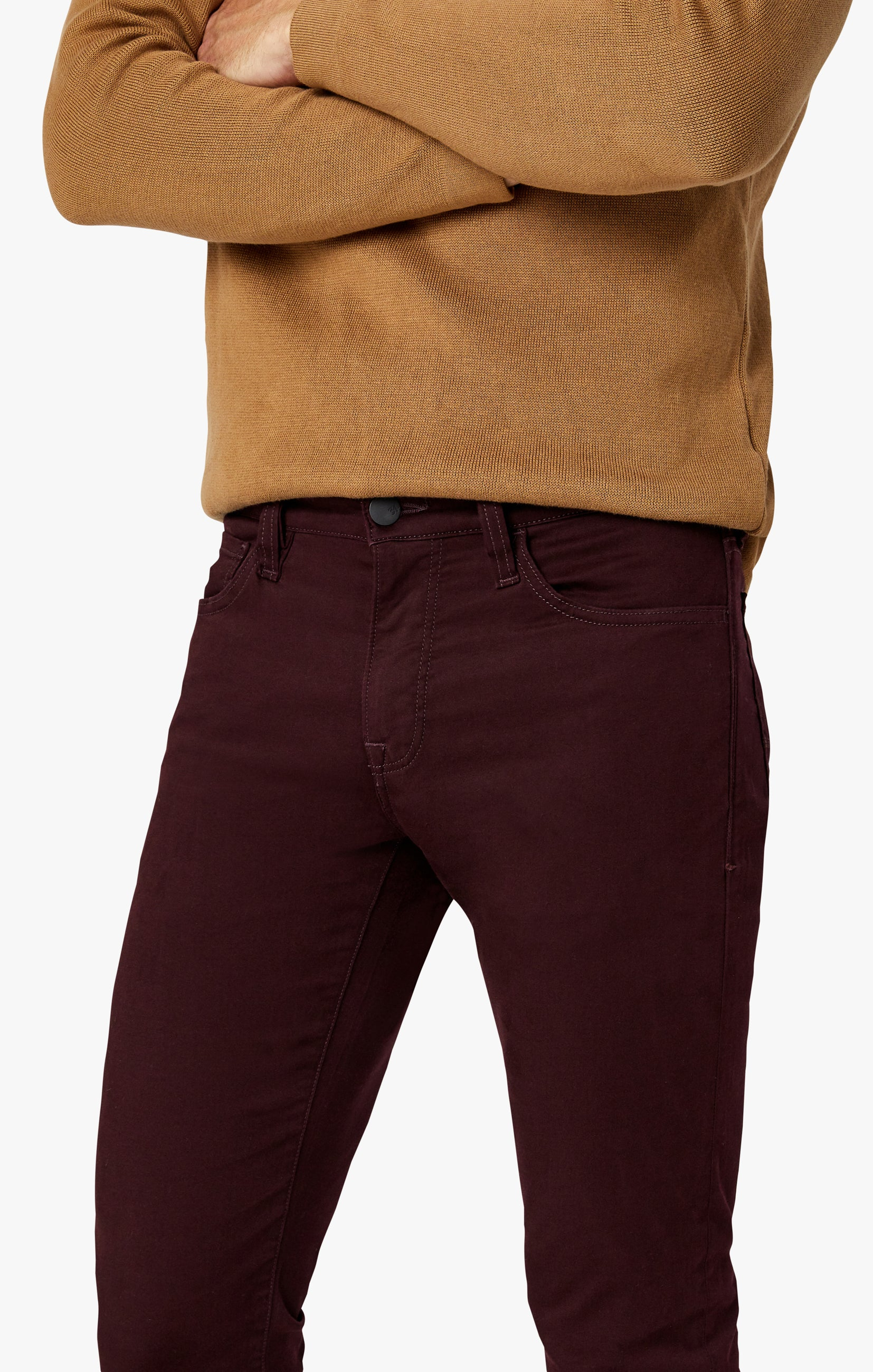 Charisma Relaxed Straight Pants in Wine Twill Image 2