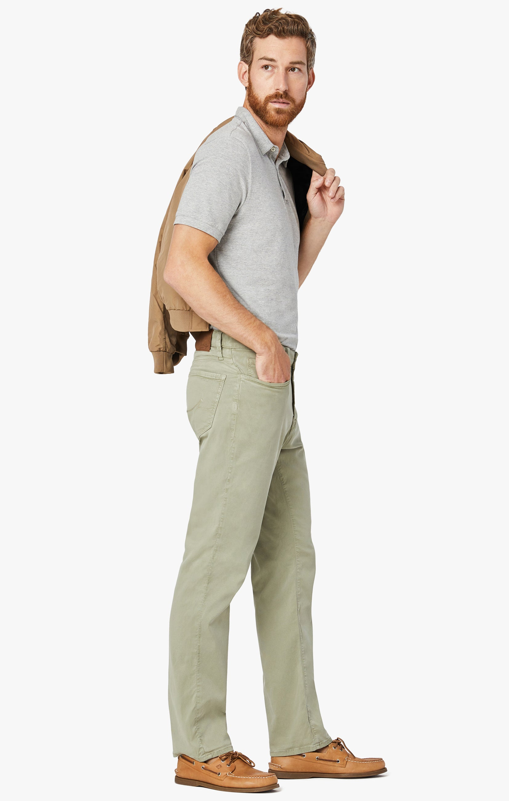 Charisma Relaxed Straight Pants In Sage Soft Touch Image 4
