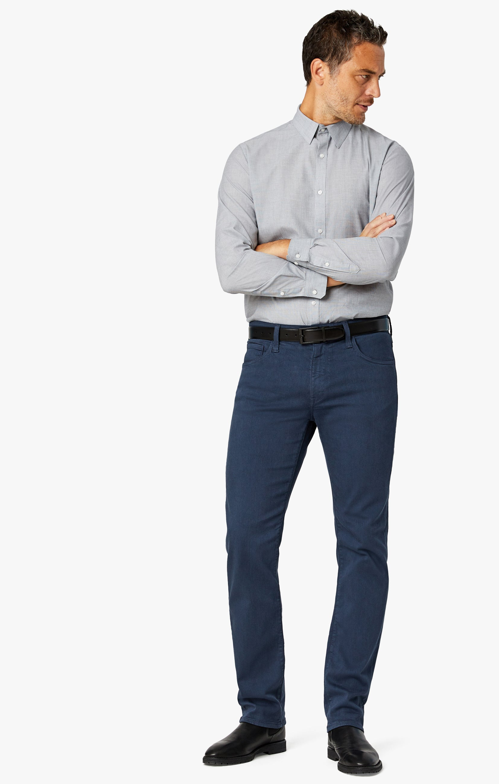 Charisma Relaxed Straight Pants In Dusty Navy Comfort Image 1