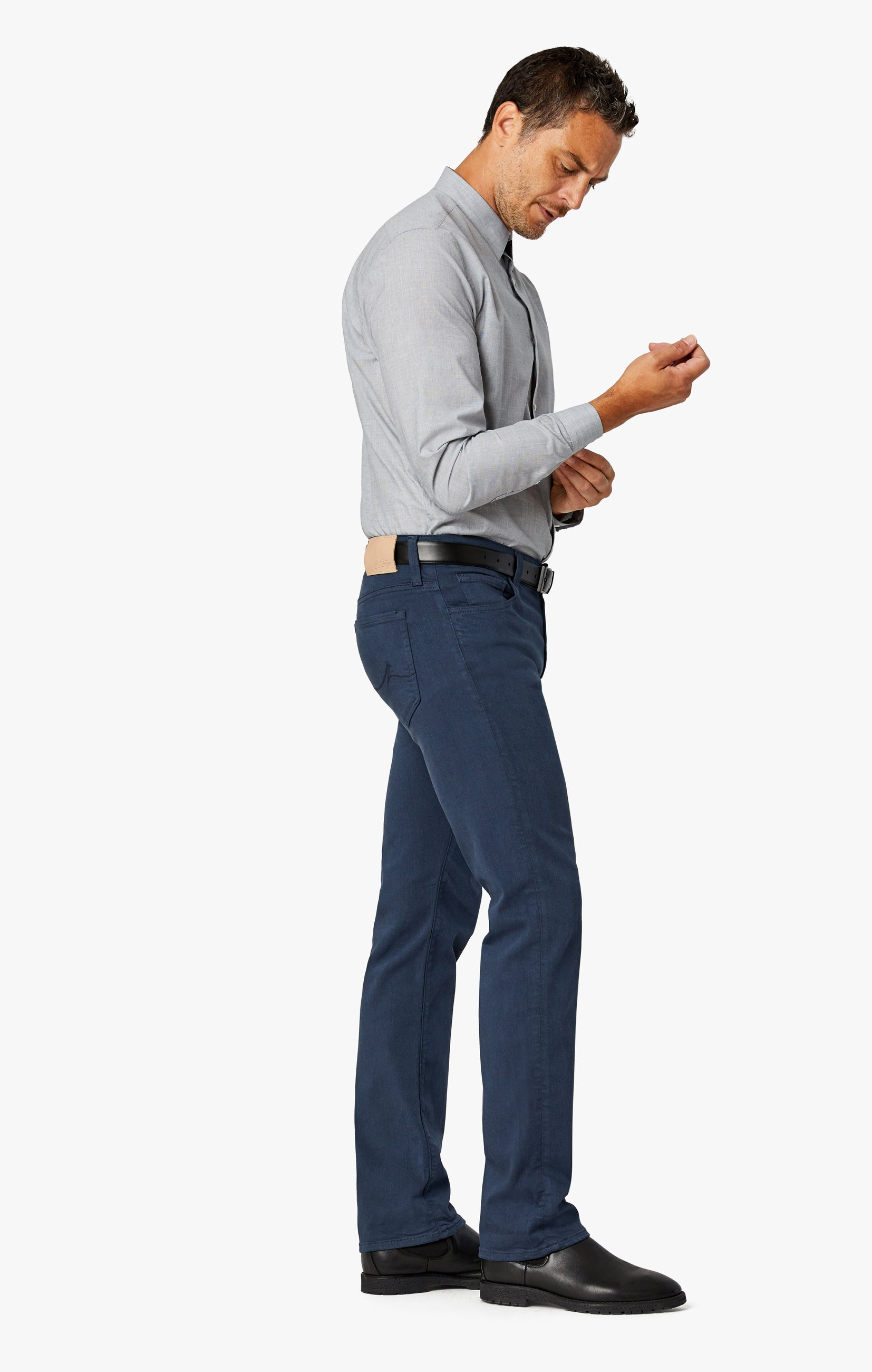 Charisma Relaxed Straight Pants In Dusty Navy Comfort Image 2