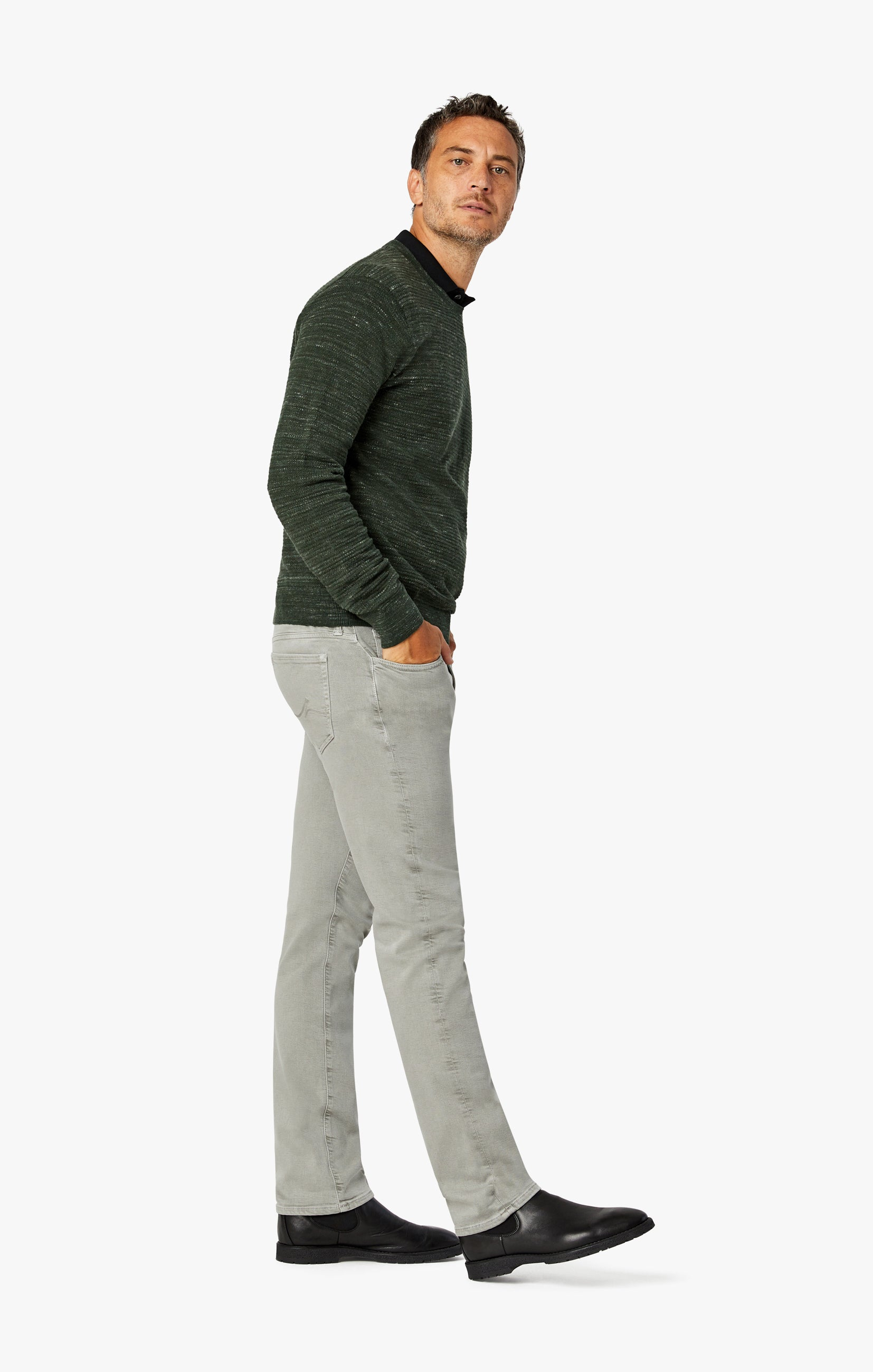 Charisma Relaxed Straight Pants In Light Grey Comfort Image 2