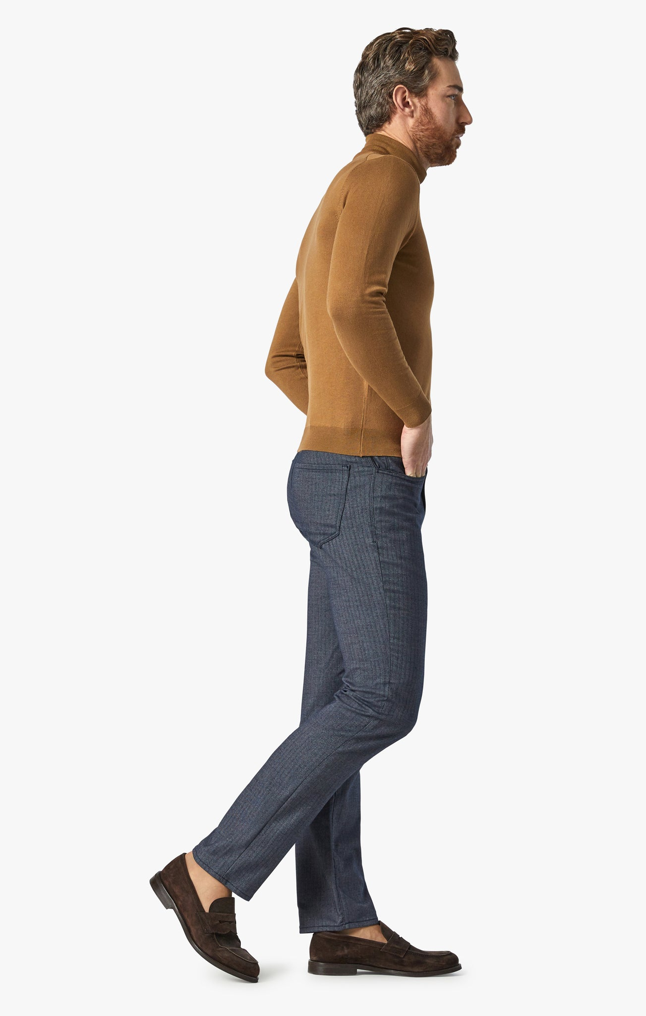 Charisma Relaxed Straight Pants in Navy Herringbone