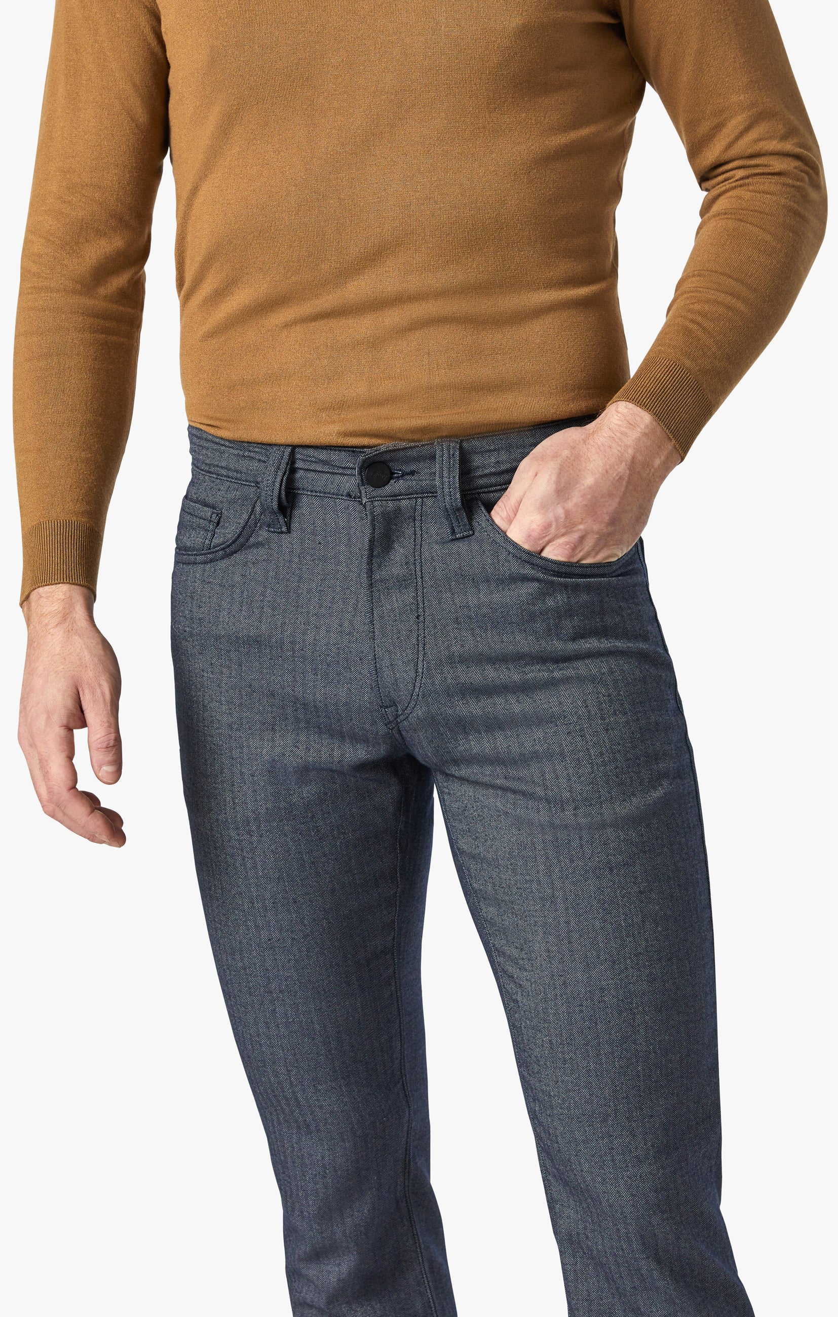 Charisma Relaxed Straight Pants in Navy Herringbone Image 4