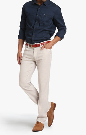 Courage Straight Leg In Latte Linen - 34 Heritage