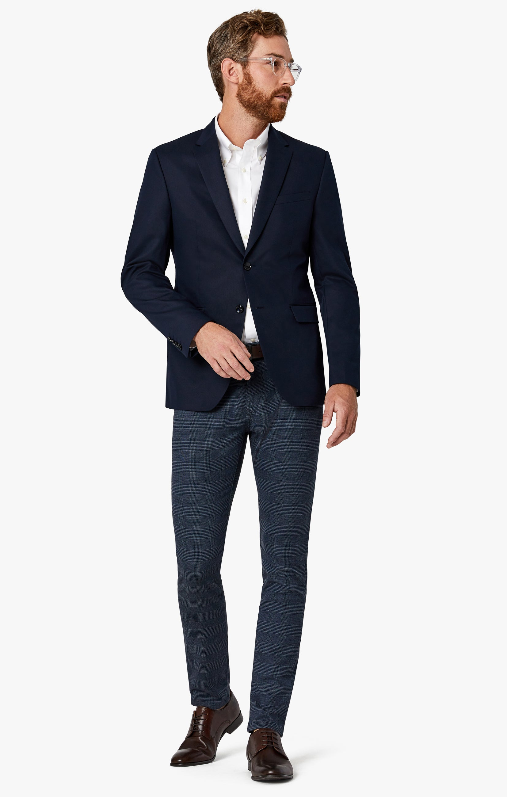 Courage Straight Leg Pants in Navy Checked Image 2