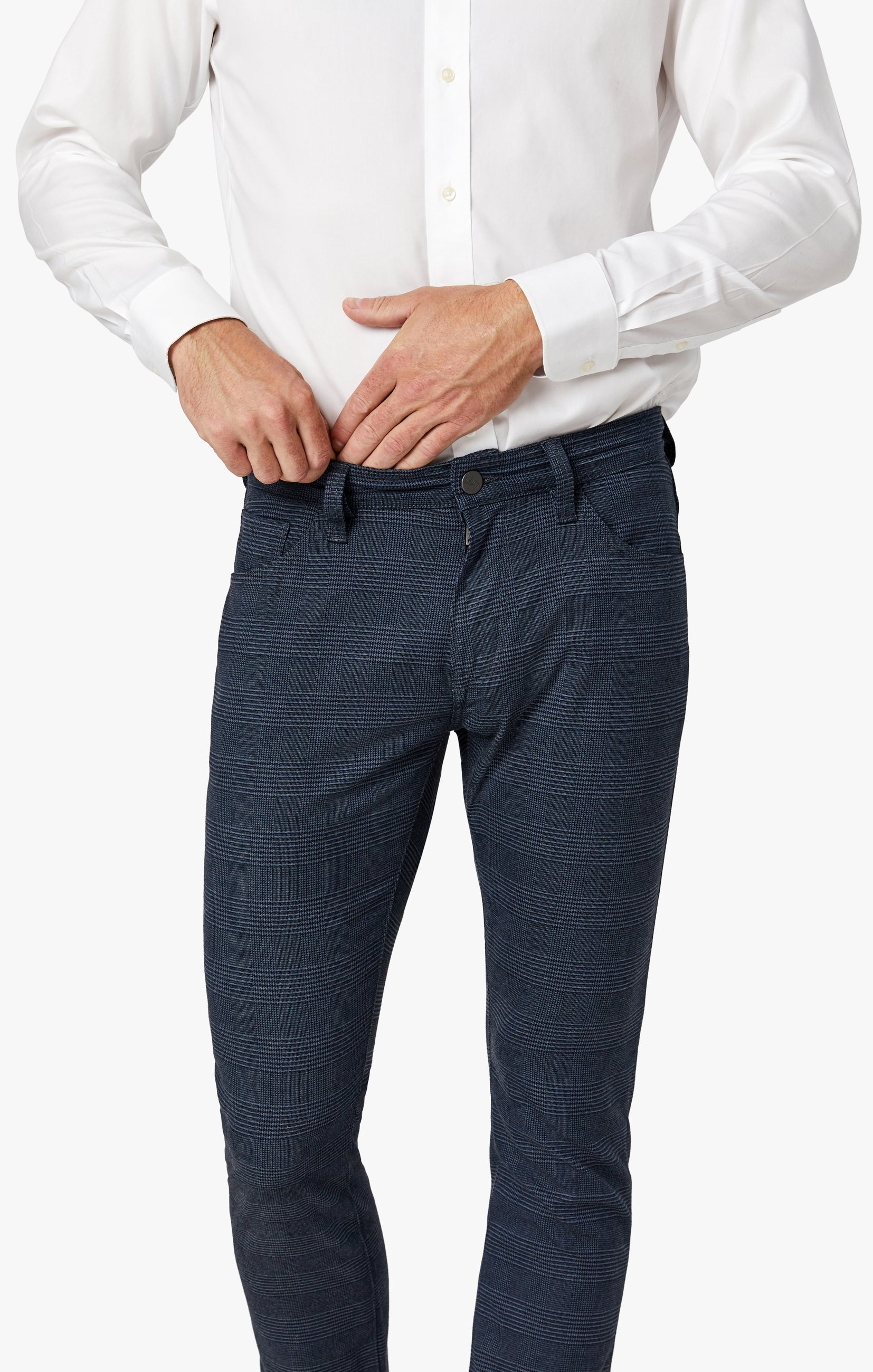 Courage Straight Leg Pants in Navy Checked Image 5