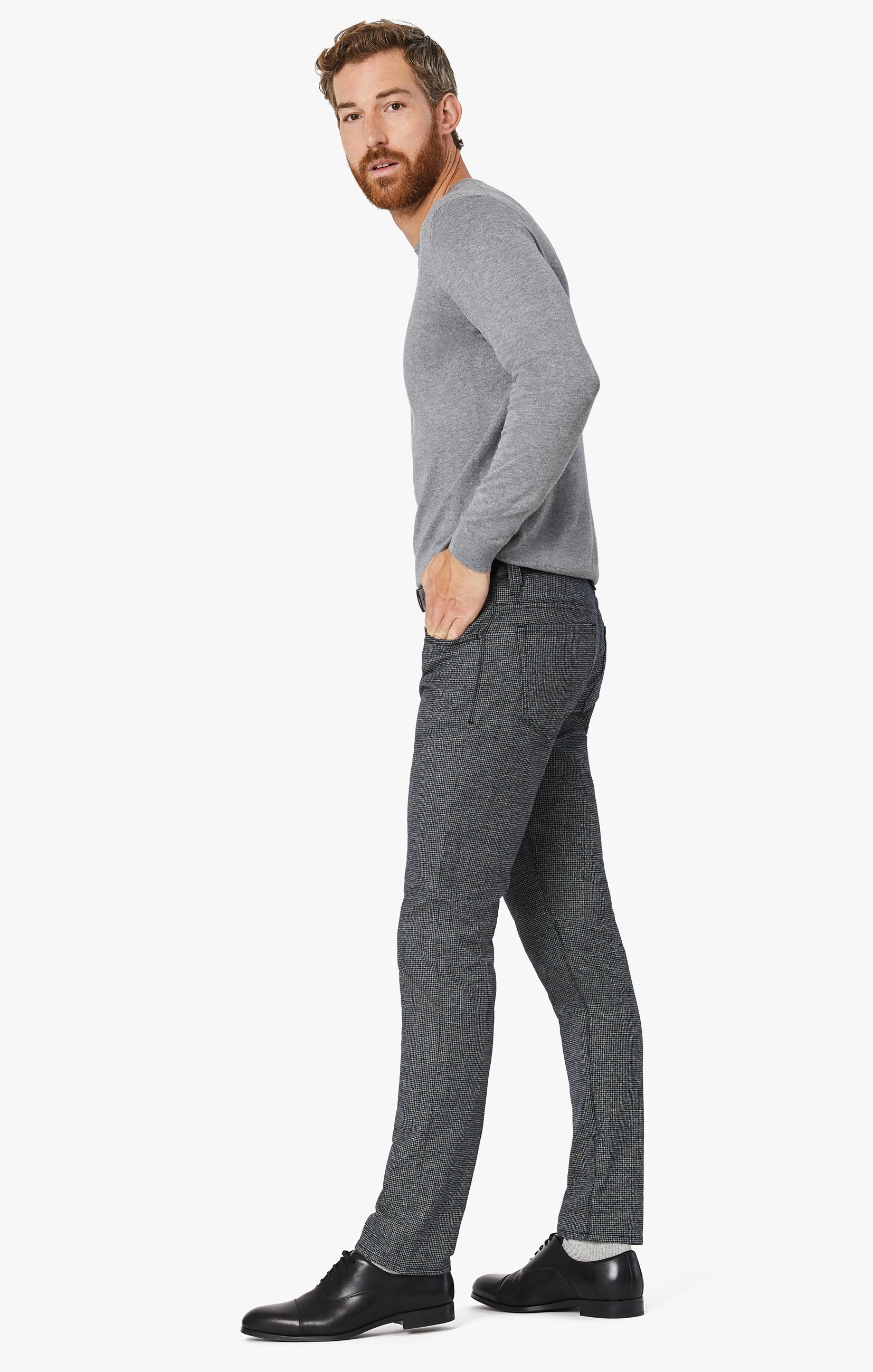 Courage Straight Leg Pants In Grey Houndstooth Image 8