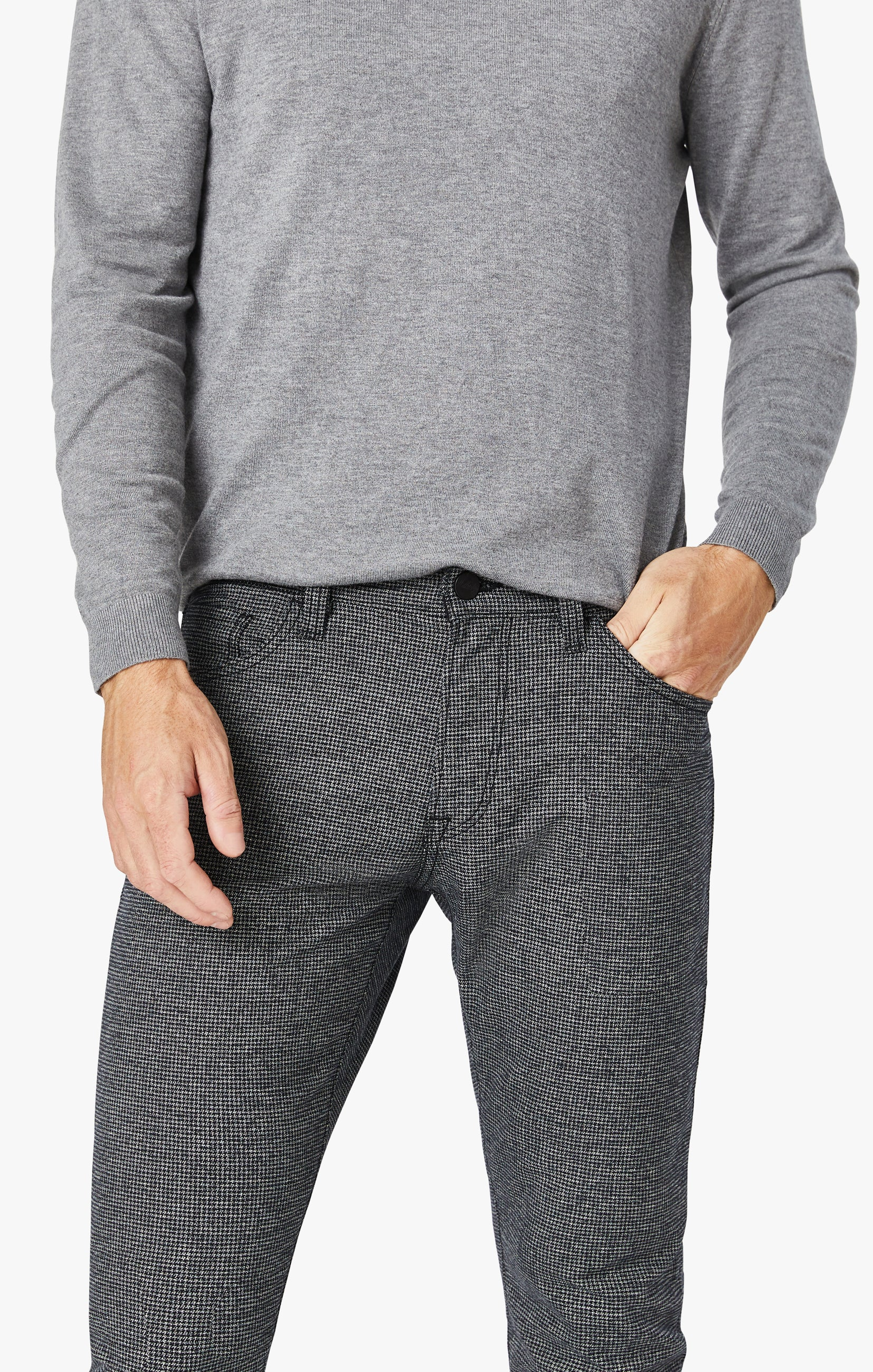 Courage Straight Leg Pants In Grey Houndstooth Image 2
