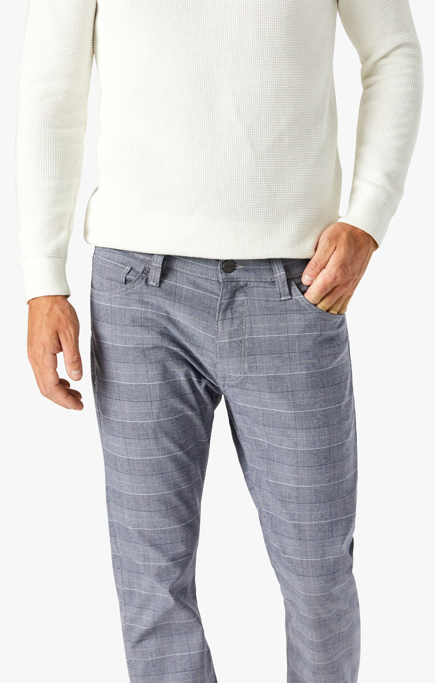 Courage Straight Leg Pants In Anthracite Checked Image 6
