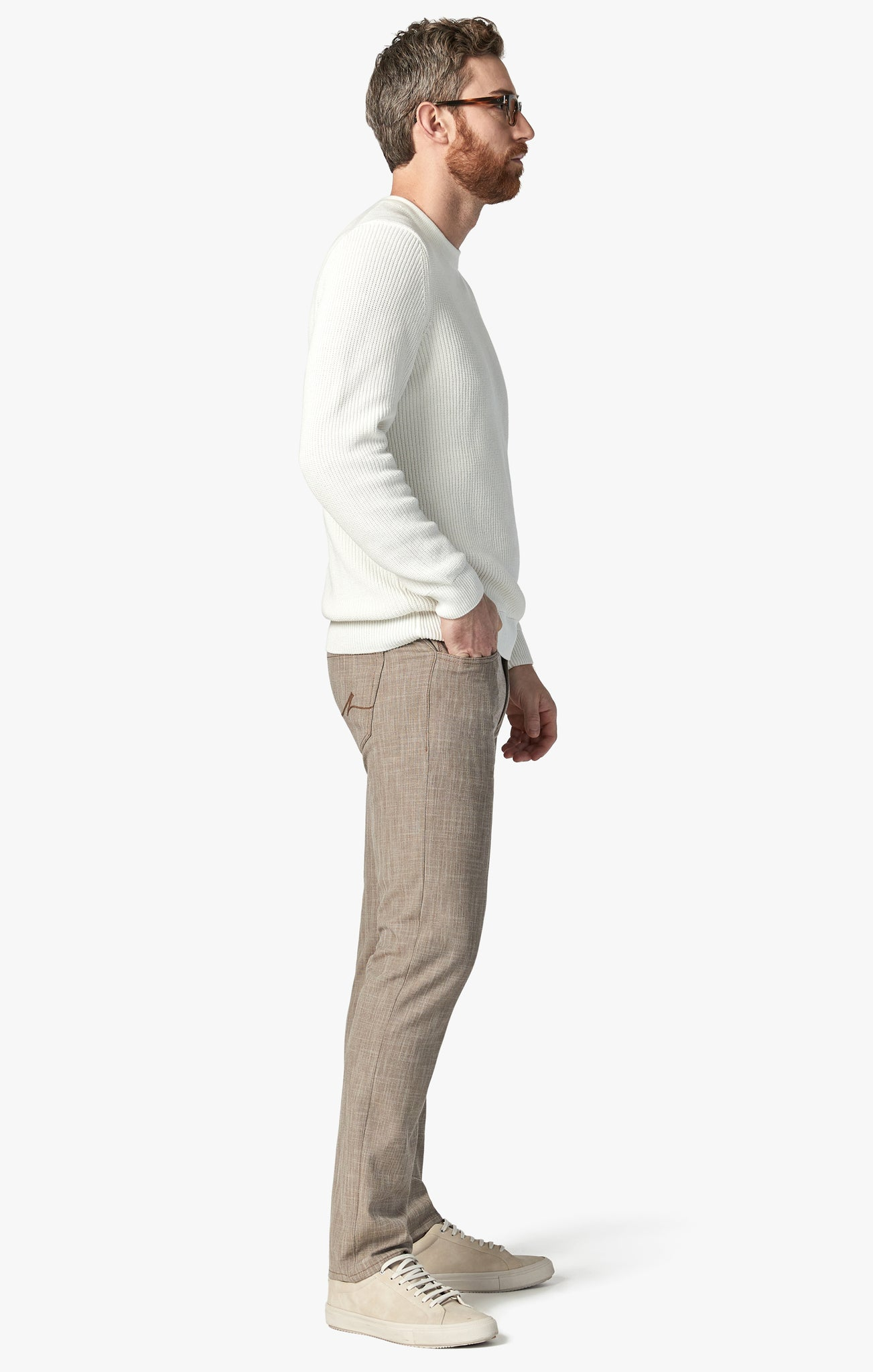 Courage Straight Leg Pants In Camel Cross Twill