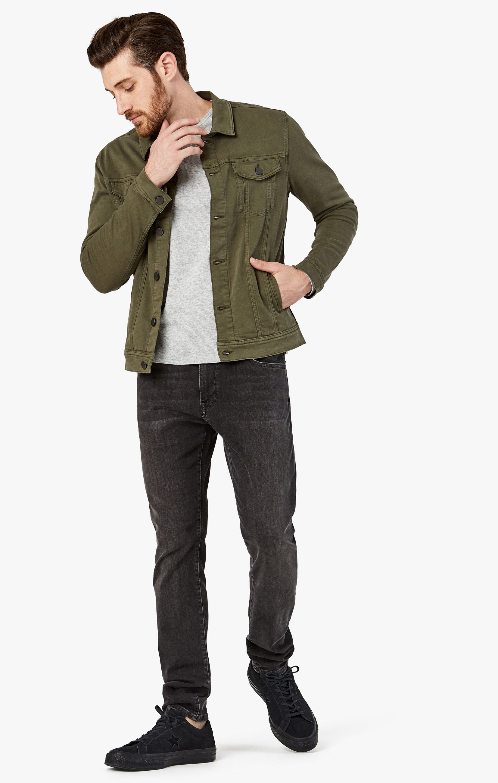 Travis Jacket In Olive Twill Image 9