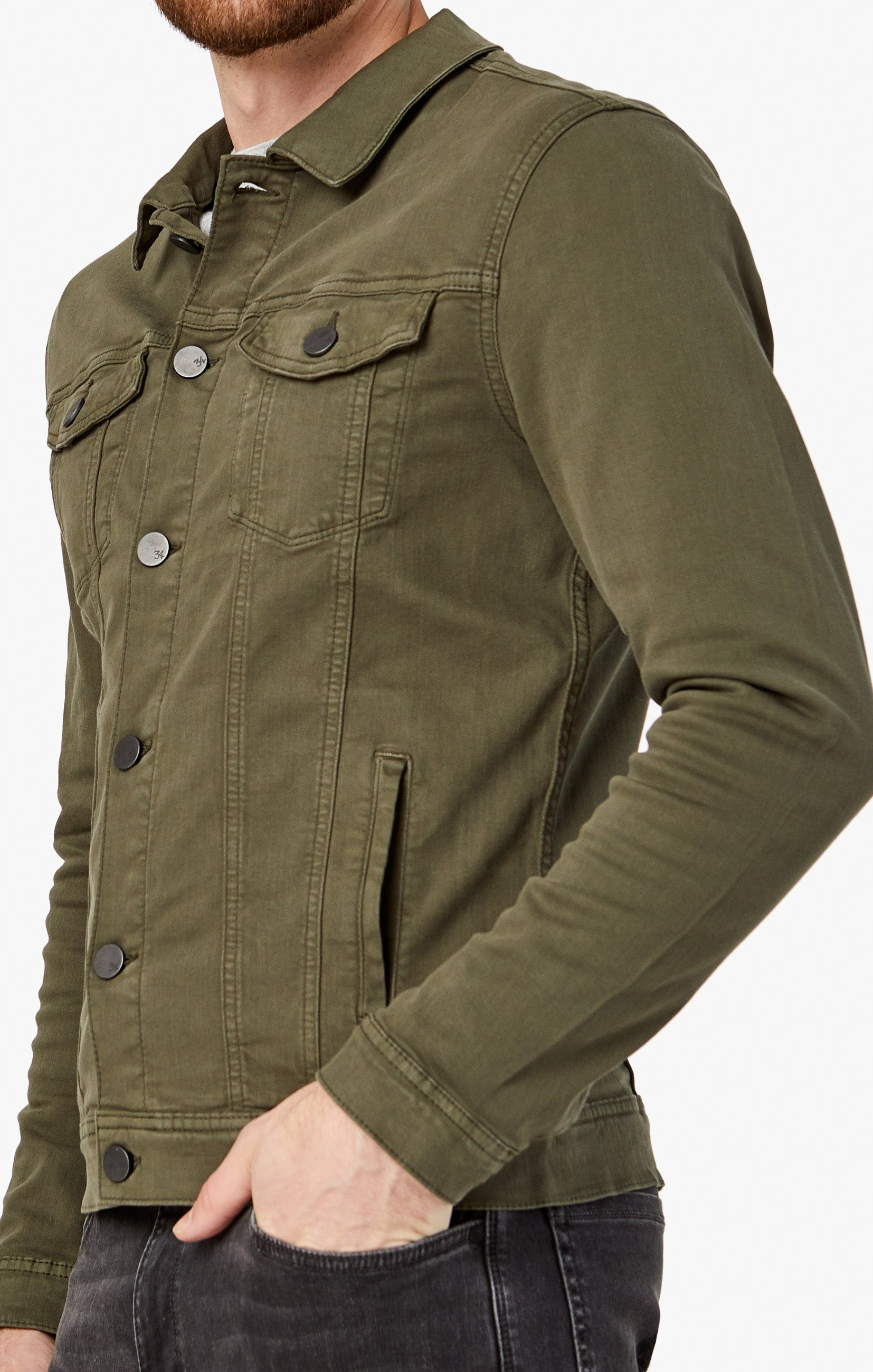 Travis Jacket In Olive Twill Image 4