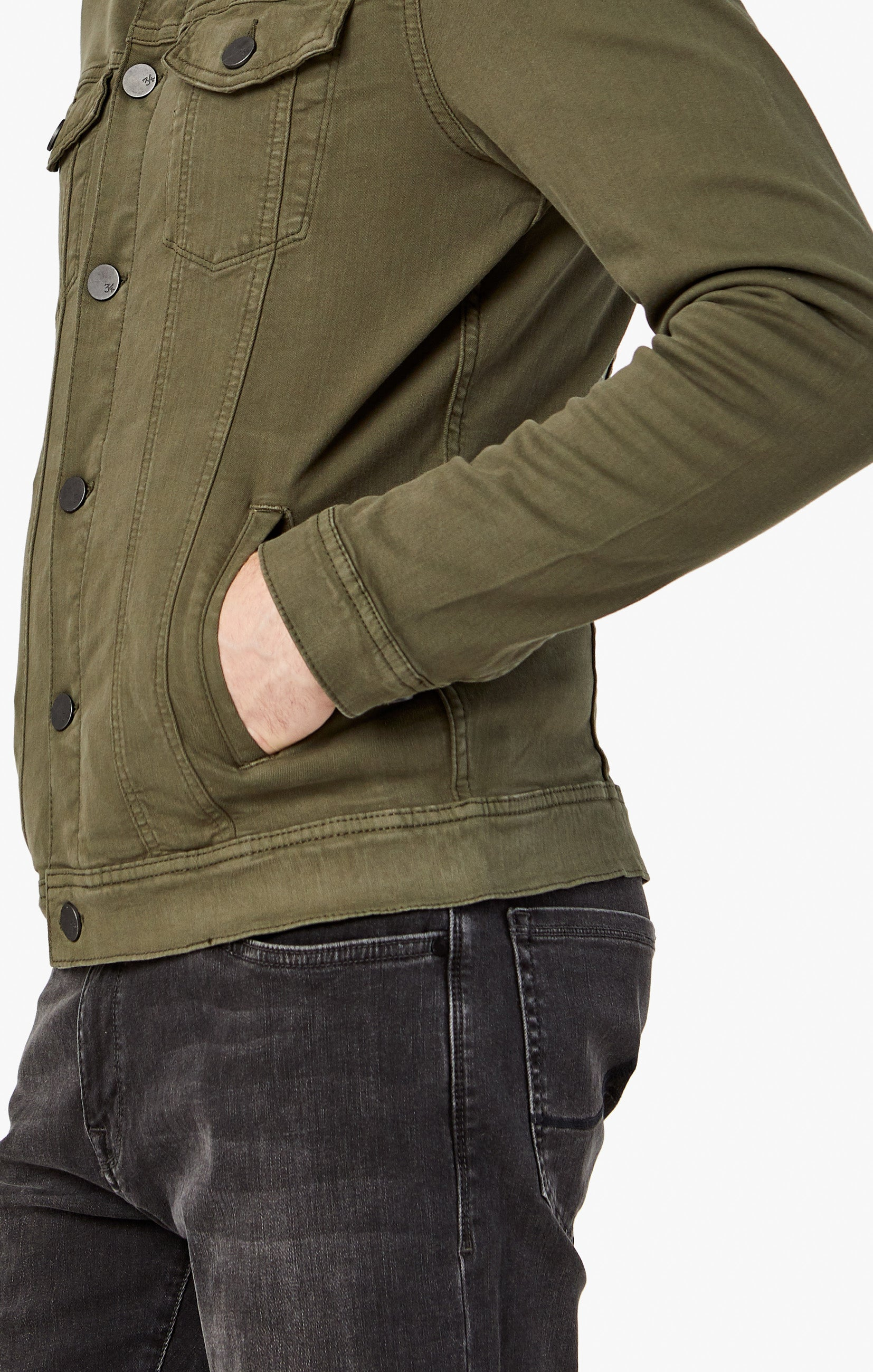 Travis Jacket In Olive Twill Image 5