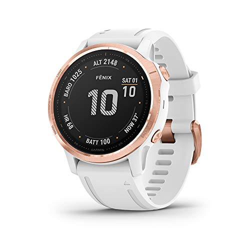 Garmin Fenix 6S Pro, Premium Multisport GPS Watch, 42mm, Rose Gold with White Band
