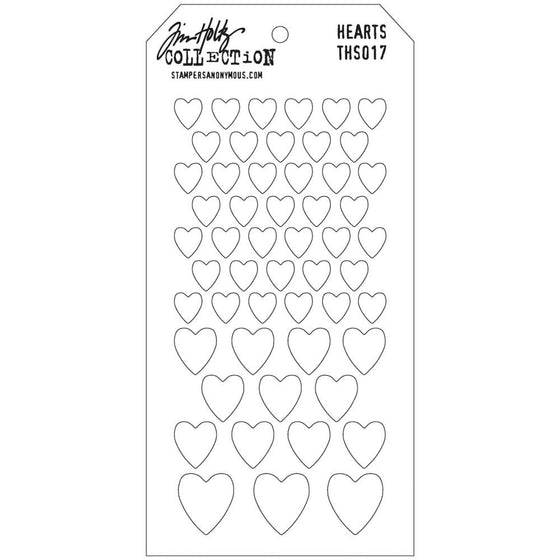 "Tim Holtz Collection Layered Stencil 4.125""X8.5"" - Hearts"