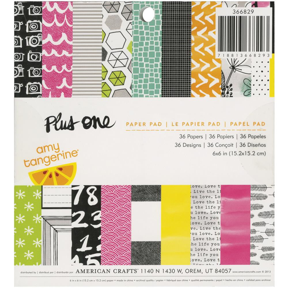 "American Crafts Single-Sided Paper Pad 6""X6"" 36/Pkg Amy Tangerine - Plus One"