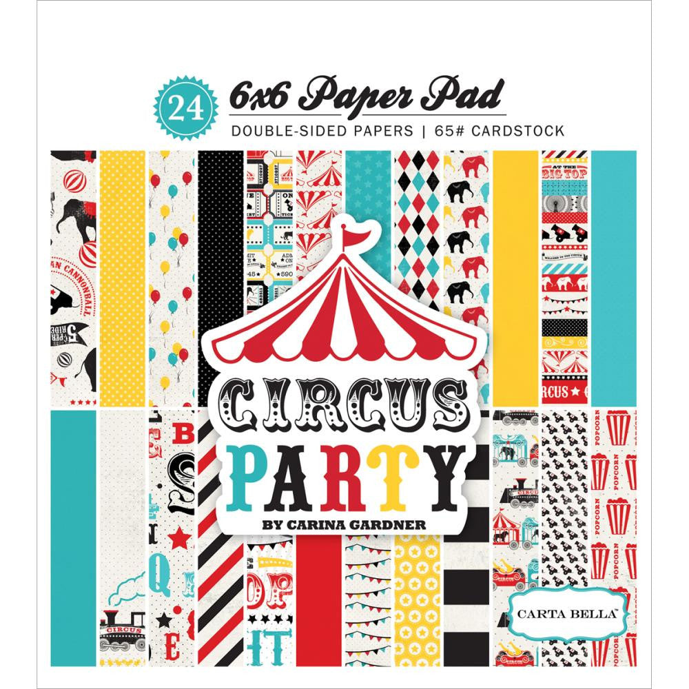"Carta Bella Double-Sided Paper Pad 6""X6"" 24/Pkg Circus Party"