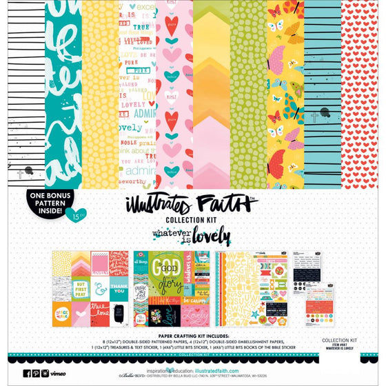 "Illustrated Faith Collection Kit 12""X12"" Whatever Is Lovely"