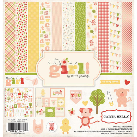 "Carta Bella Collection Kit 12""X12"" It's A Girl"