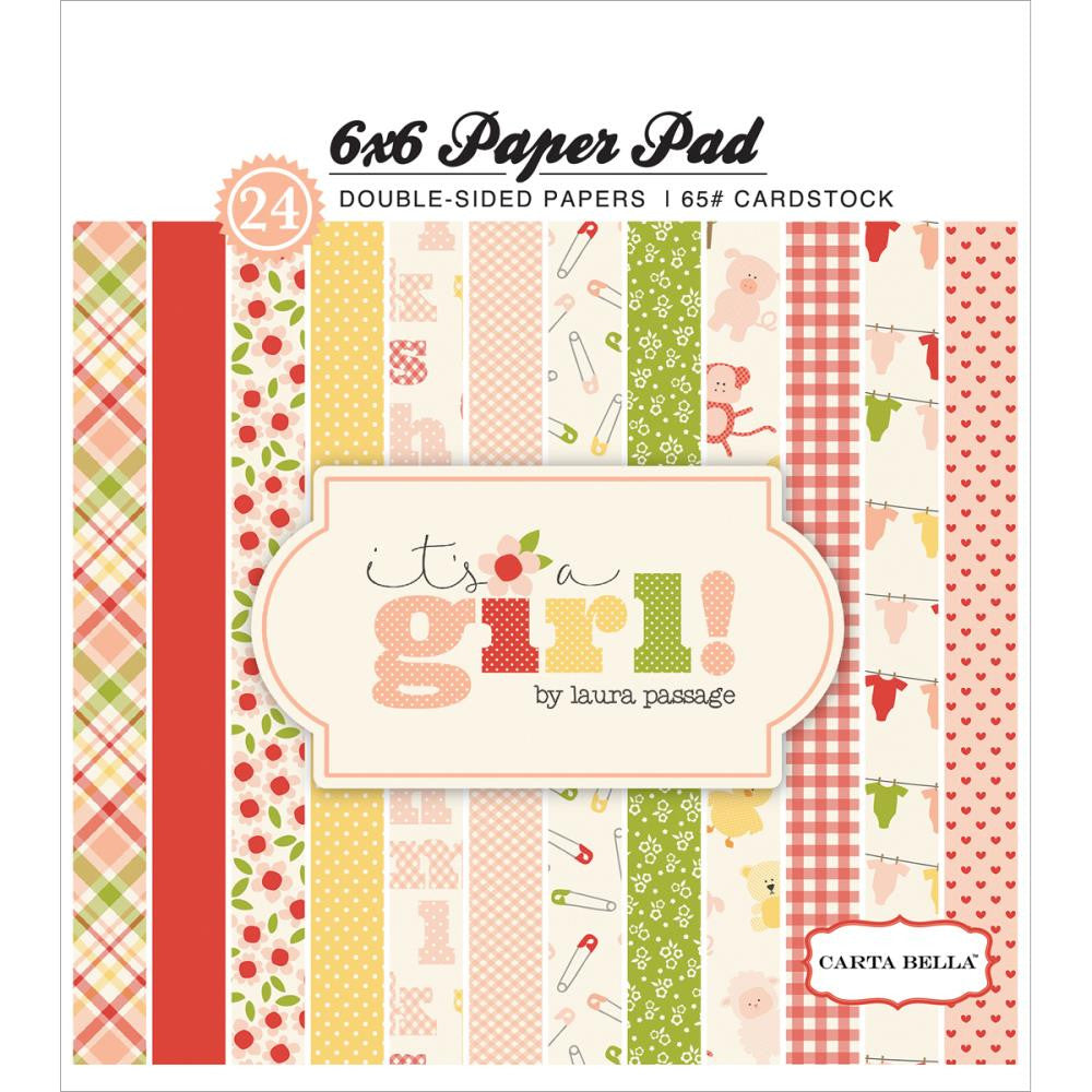 "Carta Bella Double-Sided Paper Pad 6""X6"" 24/Pkg It's A Girl"