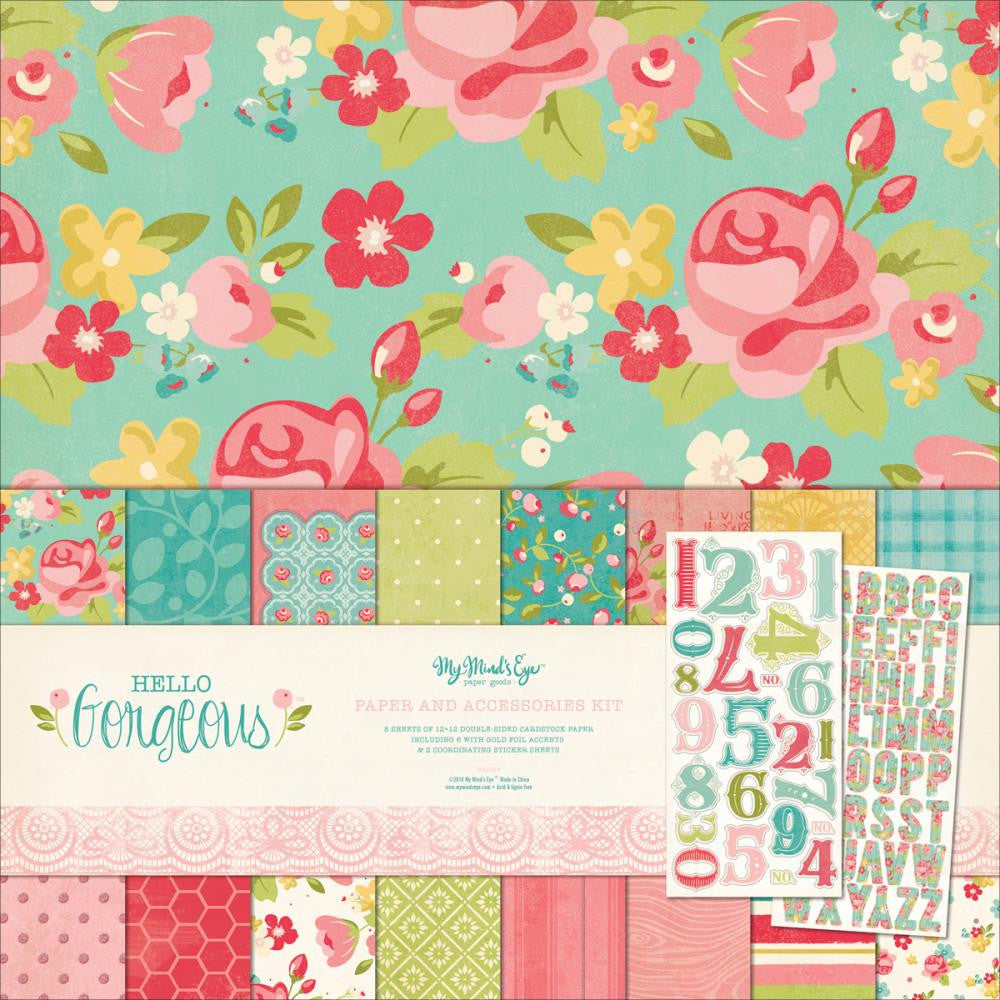 "My Mind's Eye Paper & Accessories Kit 12""X12"" Hello Gorgeous"