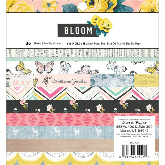 "Crate Paper Single-Sided Paper Pad 6""X6"" 36/Pkg Maggie Holmes Bloom"