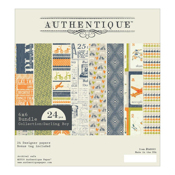 "Authentique Double-Sided Cardstock Pad 6""X6"" 24/Pkg Darling Boy"