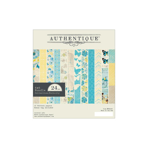 "Authentique Double-Sided Cardstock Pad 6""X6"" 24/Pkg Felicity"