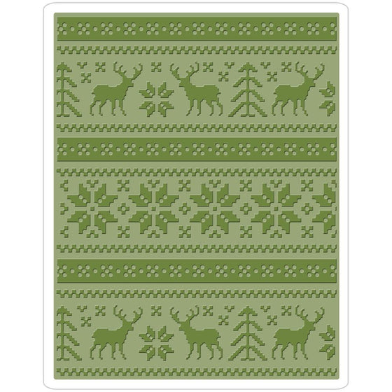 Sizzix Texture Fades A2 Embossing Folder Holiday Knit By Tim Holtz