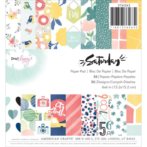 "American Crafts Single-Sided Paper Pad 6""X6"" 36/Pkg Dear Lizzy Saturday"