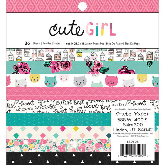 "Crate Paper Single-Sided Paper Pad 6""X6"" 36/Pkg Cute Girl"