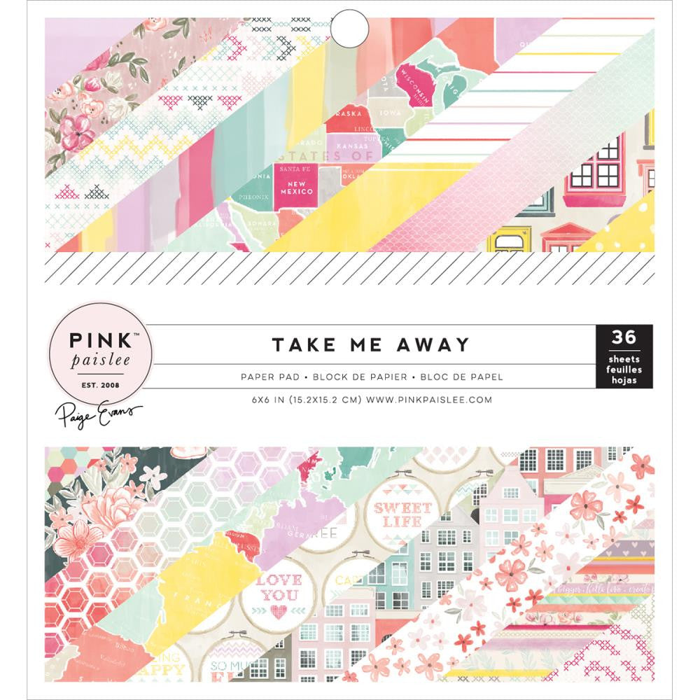 "Pink Paislee Single-Sided Paper Pad 6""X6"" 36/Pkg Take Me Away"