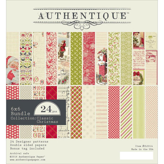 "Authentique Double-Sided Cardstock Pad 6""X6"" 24/Pkg Classic Christmas"