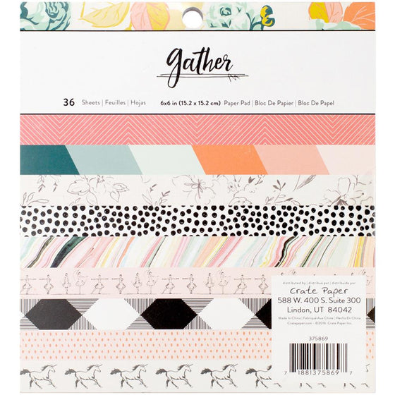 "Crate Paper Single-Sided Paper Pad 6""X6"" 36/Pkg Maggie Holmes Gather"