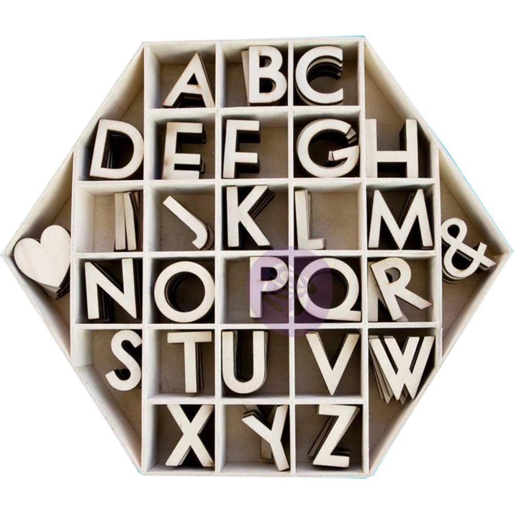 "Prima Marketing Laser-Cut Wood Alphas In A Shaped Box Hexagon W/1.5"" Letters & Shapes 168/Pkg"