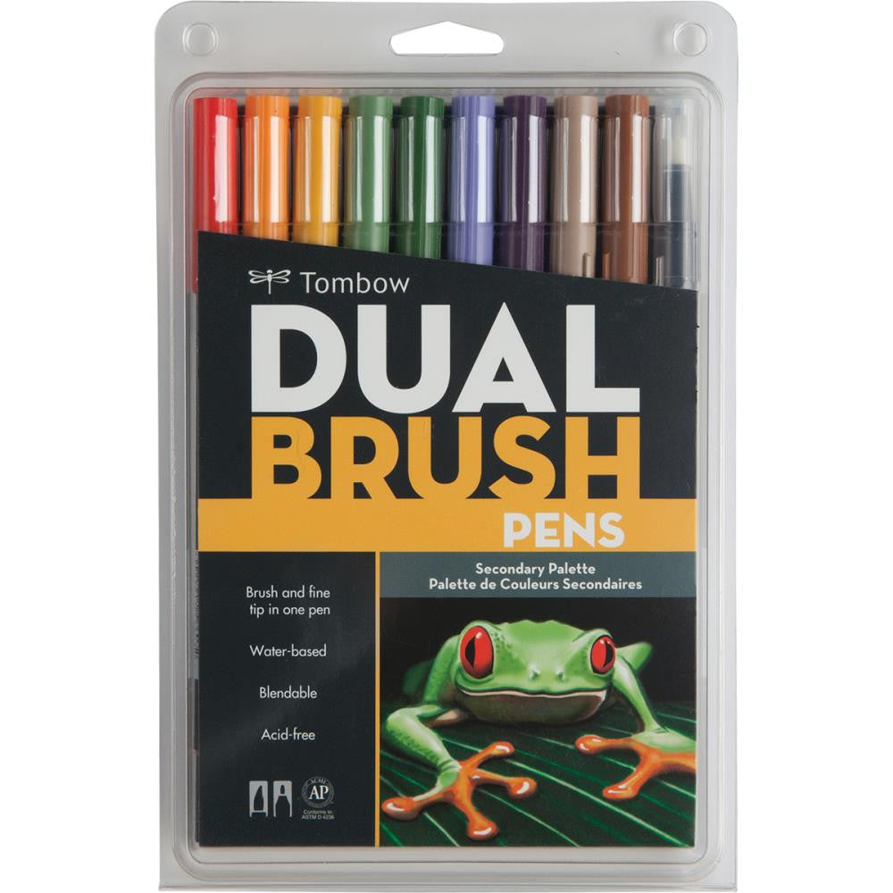 Tombow Dual Brush Pen Art Markers 10/Pkg Secondary