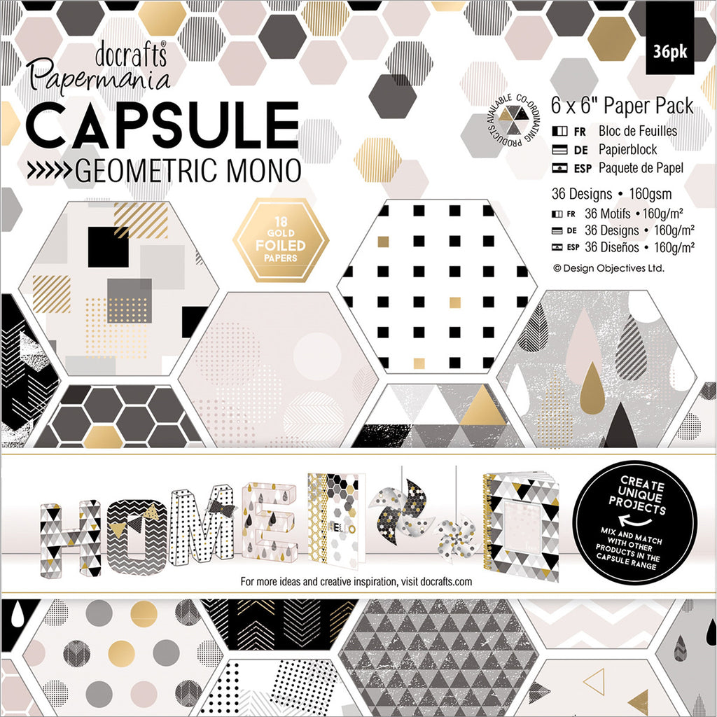 "Papermania Double-Sided Paper Pack 12""X12"" 36/Pkg-Geometric Mono"