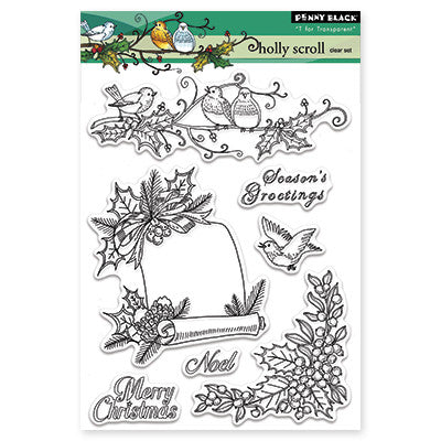 Penny Black Clear Stamps - Holly Scroll