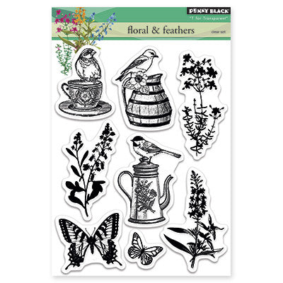 Penny Black Clear Stamps - Florals & Feathers
