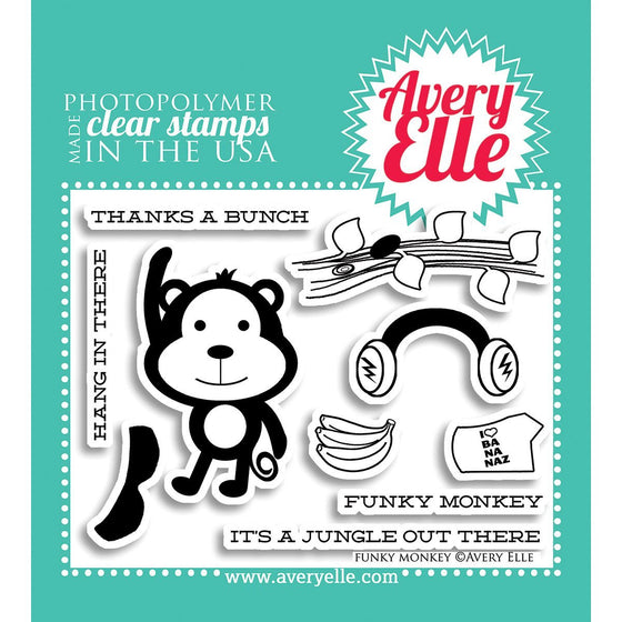 Avery Elle Clear Stamps - Funky Monkey